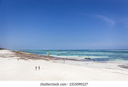 DIANI BEACH, KENYA - OCTOBER 13, 2018: Amazing Diani beach seascape with white sand and turquoise Indian Ocean, Kenya
