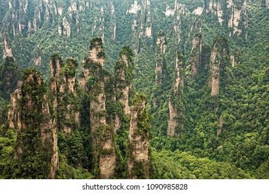 Dianjiang Terrace rock formations in the Tianzi Mountains, part of the Zhangjiajie National Forest Park, Hunan China