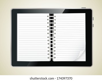 Diary book on a digital tablet screen.