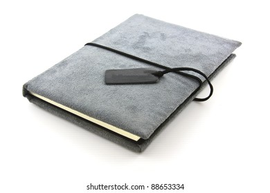 diary book on white background.