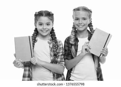 Diary for girls concept. Children cute girls hold notepads or diaries isolated on white background. Note secrets down in your cute girly diary journal. Diary writing for children. Childhood memories.