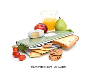A diary or journal recording daily food consumption.
