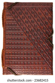 diary or scrapbook in a red stamped leather with geometrical pattern  ornaments isolated on white