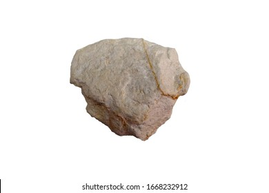 diatomite rock  isolated on white background. Diatomaceous earth is a light-colored sedimentary rock composed chiefly of siliceous shells of diatoms. There is noise and grain caused by texture of rock