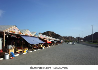 Dibba Al-Fujairah, Fujairah, UAE - April 4, 2019: Traditional market with fresh fruits and vegetables along hiway