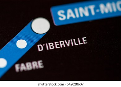 D'Iberville Station. Montreal Metro map.