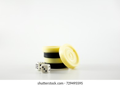 dice and backgammon chips