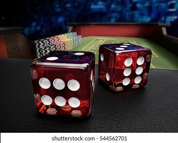 dice before throw on craps table at casino - 3D rendering
