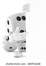 Dice character isolated on white background. 3d illustration