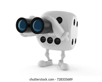 Dice character looking through binoculars isolated on white background. 3d illustration