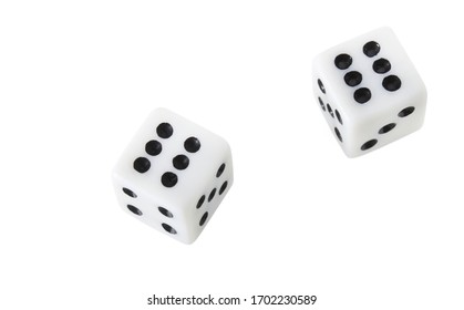 Dice close up isolated on white background