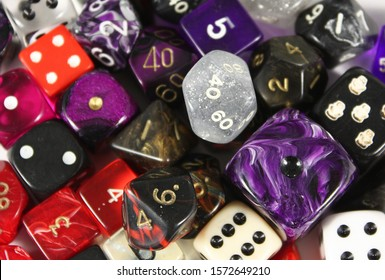 Dice, colorful and different types of dice