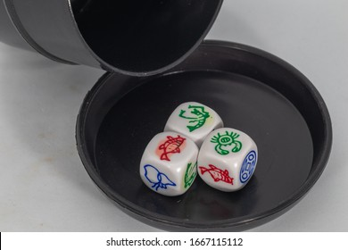 Dice Cup Fish and Shrimp game set  with white background. this game also known as Katam-Katam in local Sabahan Language