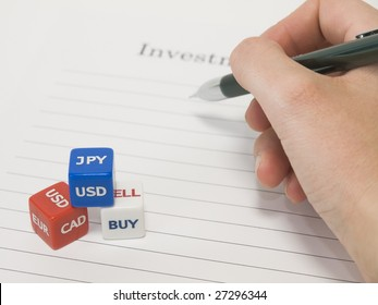 Dice of currency and hand