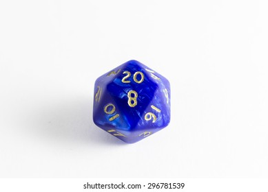 dice d20 with shadows