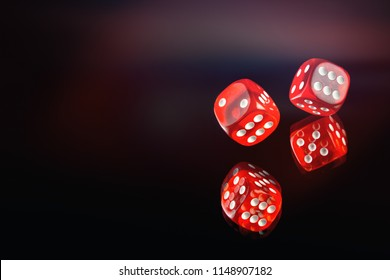 The dice fall on a dark red background. Soft tinted image. Casino gambling poker, roulette.