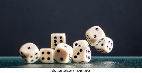 Dice falling during gambling
