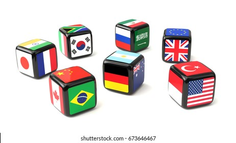 Dice with flags of the G20 nations cast. 3D illustration