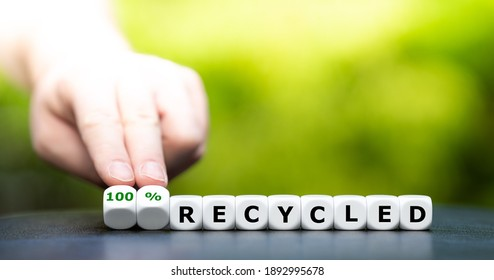 """Dice form the expression """"100 % recycled""""."""