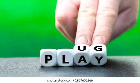 """Dice form the words """"plug"""" and """"play""""."""