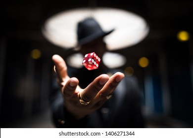 A dice levitating in an image