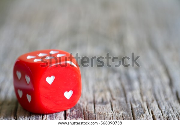 Dice love heart Valentines day abstract background concept