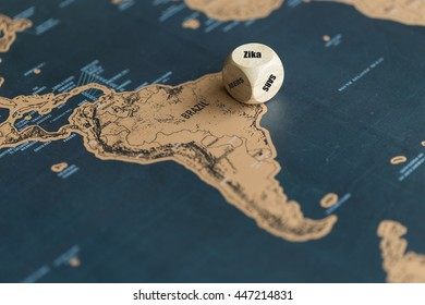 Dice on the map of Brazil. Zika, MERS and SARS on each side of dice but the Zika is on the top means Zika virus fever found in Brazil.
