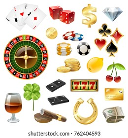 Dice poker chips casino equipment and gambling supply with glass wine sigaar glossy icons collection isolated  illustration