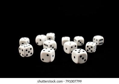 Dice stock images. White dice on a black background