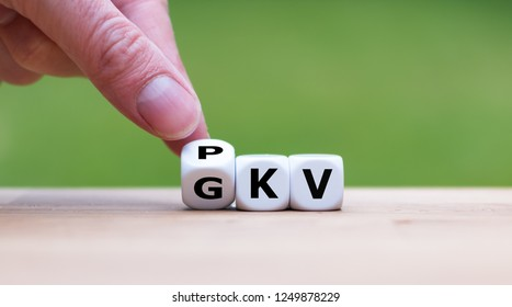 Dice symbolize the change from the public health (GKV) insurance to the private health insurance (PKV) in germany