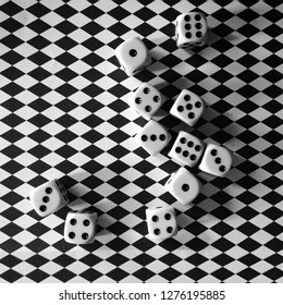 dice that draw Italy on chessboard background