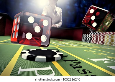dice throw on craps table in online casino