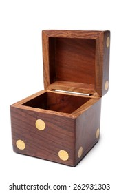 Dice wooden box on white background