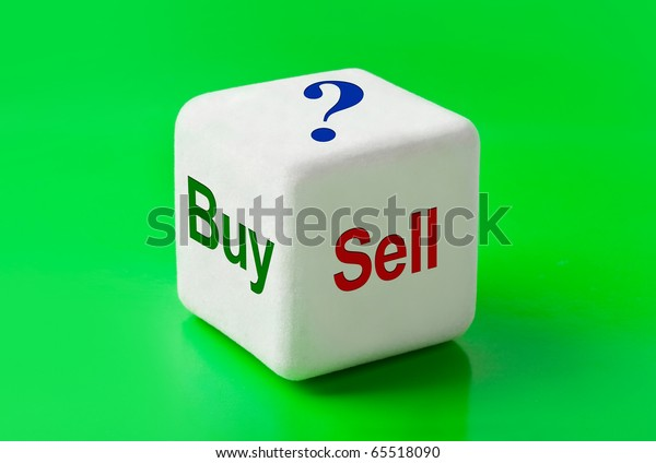 Dice with words Buy and Sell - concept background