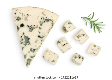 diced Blue cheese with rosemary isolated on white background with clipping path and full depth of field. Top view. Flat lay.