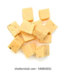 Diced blue cheese - studio shot on white background