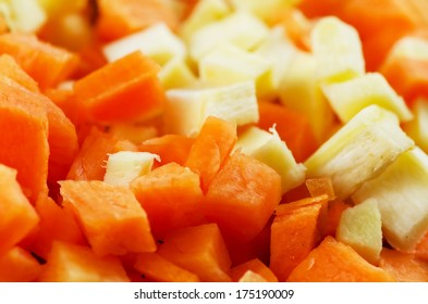 Diced carrots background.