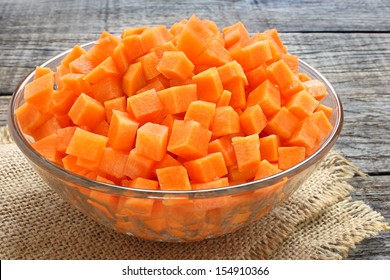 Diced carrots in  glass bowl