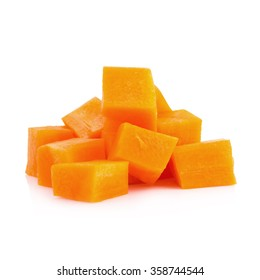 Diced carrots on white background.