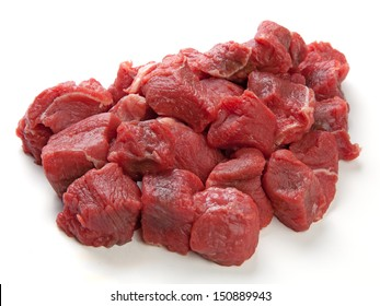 Diced or cubed raw beef steak