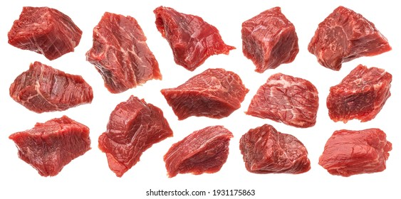 Diced red beef meet, cubes of raw beef isolated on white background with clipping path
