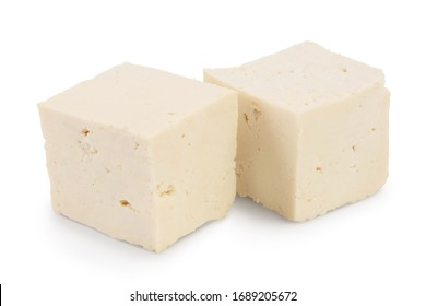 diced tofu cheese isolated on white background with clipping path and full depth of field,