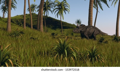 diceratops walks across hills