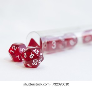 Dices for dnd, role playing games and board games in a transparent tube