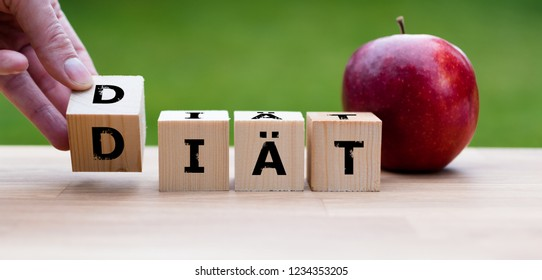 """Dices form the german word """"DIÄT"""" with means diet"""