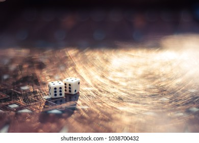 Dices set to play old backgammons.Back gammon table game.Classic table dice game. Rolling dice in old table backgammon board game