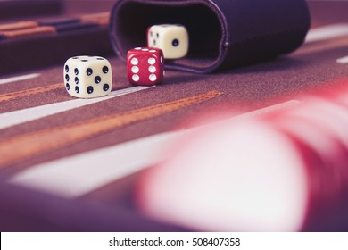 Dices set to play old backgammons.Classic table games background.Play ancient Turkish & Persian rolling dice in old board game.Entertainment concept