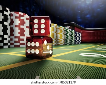 dices throw on craps table at casino - 3D rendering
