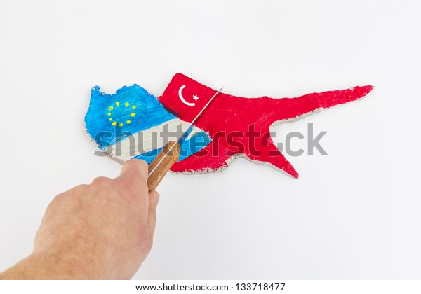 The dichotomy of Cyprus into three parts Turkey, Russia, European Union with a knife (Concept Cyprus financial crisis)