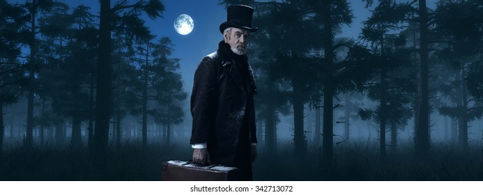 Dickens Scrooge Man with Suitcase in Foggy Winter Forest at Moonlight.